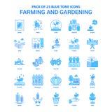 Πακέτο εικονιδίων τόνου καλλιέργειας και κηπουρικής μπλε - 25 σύνολα εικονιδίων απεικόνιση αποθεμάτων