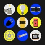 Πακέτο εικονιδίων για τα τεχνικά θέματα στο επίπεδο σχέδιο Στοκ Εικόνες