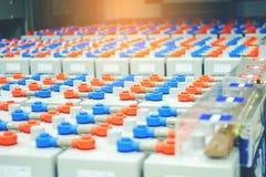 Πακέτο μπαταριών στο δωμάτιο μπαταριών στις εγκαταστάσεις παραγωγής ενέργειας για το electrici ανεφοδιασμού Στοκ Εικόνα