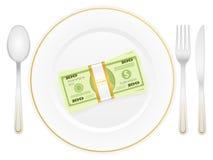 Πακέτο πιάτων και δολαρίων Στοκ Φωτογραφίες