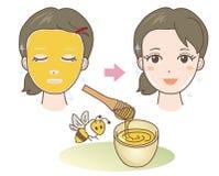 Πακέτο προσώπου - μέλι - φυσικά υλικά διανυσματική απεικόνιση