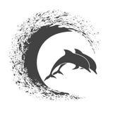 Πακέτο των δελφινιών που αναπηδά στα κύματα διανυσματική απεικόνιση