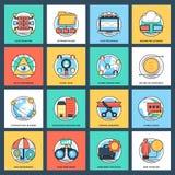 Πακέτο των επίπεδων διανυσματικών εικονιδίων επιχειρήσεων και διαχείρισης δεδομένων διανυσματική απεικόνιση