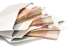 Πακέτο των ρωσικών τραπεζογραμματίων στο φάκελο Στοκ φωτογραφία με δικαίωμα ελεύθερης χρήσης