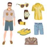 Πακέτο χαρακτήρα Hipster για το αγόρι geek με το εξάρτημα Στοκ Εικόνα