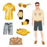 Πακέτο χαρακτήρα Hipster για το αγόρι geek με το εξάρτημα Στοκ Εικόνες