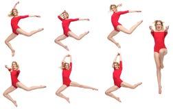 Πακέτο χορού του όμορφου ξανθού κοριτσιού που απομονώνεται Στοκ εικόνα με δικαίωμα ελεύθερης χρήσης