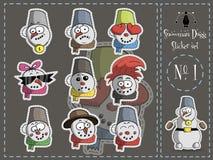 Πακέτο Dugg αυτοκόλλητων ετικεττών ο χιονάνθρωπος, αριθμός 1, διάνυσμα διανυσματική απεικόνιση