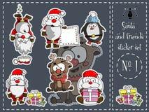 Πακέτο, Santa και φίλοι αυτοκόλλητων ετικεττών 1 διάνυσμα απεικόνιση αποθεμάτων