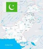 Πακιστάν - απεικόνιση χαρτών και σημαιών Στοκ Εικόνες