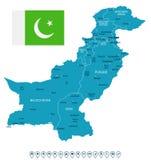 Πακιστάν - απεικόνιση χαρτών και σημαιών Στοκ Εικόνα