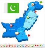 Πακιστάν - απεικόνιση χαρτών και σημαιών Στοκ φωτογραφία με δικαίωμα ελεύθερης χρήσης