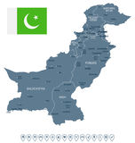 Πακιστάν - απεικόνιση χαρτών και σημαιών Στοκ Φωτογραφία