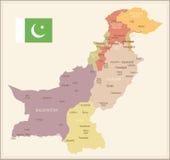 Πακιστάν - εκλεκτής ποιότητας χάρτης και σημαία - απεικόνιση Στοκ εικόνα με δικαίωμα ελεύθερης χρήσης