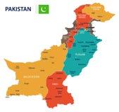 Πακιστάν - χάρτης και σημαία - απεικόνιση Στοκ Φωτογραφίες