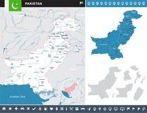 Πακιστάν - infographic απεικόνιση χαρτών και σημαιών Στοκ Φωτογραφία