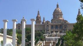 Παλάου Nacional, το εθνικό παλάτι σε Montjuic στη Βαρκελώνη απόθεμα βίντεο