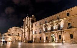 Παλάτι Αρχιεπισκόπου ` s και καθεδρικός ναός των Συρακουσών στις Συρακούσες - τη Σικελία, Ιταλία Στοκ φωτογραφίες με δικαίωμα ελεύθερης χρήσης