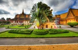 παλάτι κήπων της Καμπότζης hdr &b Στοκ Εικόνες