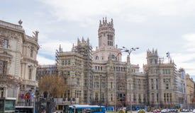 Παλάτι Cibeles στη Μαδρίτη κάτω από την κατασκευή Στοκ Φωτογραφία