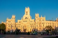 Παλάτι Cibeles στη Μαδρίτη στο ηλιοβασίλεμα, Ισπανία Στοκ φωτογραφία με δικαίωμα ελεύθερης χρήσης