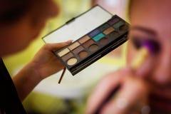 Παλέτα εκμετάλλευσης καλλιτεχνών Makeup Στοκ εικόνες με δικαίωμα ελεύθερης χρήσης