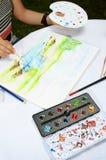 Παλέτα των χρωμάτων, της βούρτσας, των βουρτσών και του τοπίου watercolor Στοκ Εικόνες