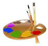 Παλέτα, χρώματα και βούρτσες Στοκ εικόνες με δικαίωμα ελεύθερης χρήσης