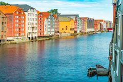 Παλαιά άποψη πόλεων του Τρόντχαιμ Νορβηγία, Σκανδιναβία, Ευρώπη Στοκ Φωτογραφία