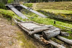 Παλαιά έλξη ξυλείας στο κανάλι Stöa, Νορβηγία/Σουηδία Στοκ Εικόνα