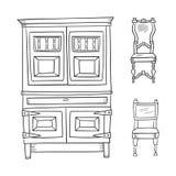 Παλαιά έπιπλα καθορισμένα - ντουλάπι και καρέκλες που απομονώνονται σε μια λευκιά ΤΣΕ ελεύθερη απεικόνιση δικαιώματος