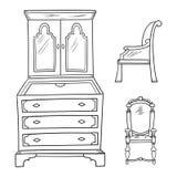 Παλαιά έπιπλα καθορισμένα - ντουλάπι και καρέκλες που απομονώνονται σε μια λευκιά ΤΣΕ απεικόνιση αποθεμάτων