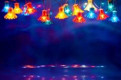 Παλαιά ή αναδρομική πλαίσιο ή σκηνή φω'των Χριστουγέννων Στοκ Εικόνες