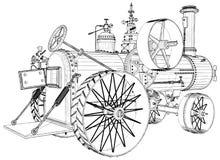 Παλαιά αναδρομική μηχανή τρακτέρ ατμού που απομονώνεται στο άσπρο διάνυσμα υποβάθρου διανυσματική απεικόνιση