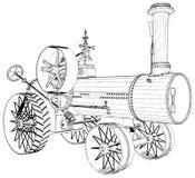 Παλαιά αναδρομική μηχανή τρακτέρ ατμού που απομονώνεται στο άσπρο διάνυσμα υποβάθρου απεικόνιση αποθεμάτων
