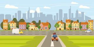 Παλαιά αρχιτεκτονική σπιτιών κτηρίων οδών πόλεων κεντρικός, αυτοκίνητα οδικών εθνικών οδών σταυροδρομιών, σύγχρονα κτήρια ουρανοξ διανυσματική απεικόνιση