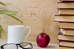 Παλαιά βιβλίο και γυαλιά στο ξύλινο ράφι στοκ εικόνα