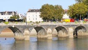 Παλαιά γέφυρα στη Angers, Γαλλία απόθεμα βίντεο
