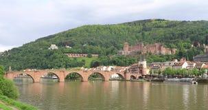 Παλαιά γέφυρα Alte Brucke και Χαϋδελβέργη Castle στη Χαϋδελβέργη, Γερμανία απόθεμα βίντεο