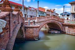 Παλαιά γέφυρα, las filipinas de casas acuzar, Φιλιππίνες Στοκ Εικόνες