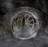 Παλαιά γοτθική πύλη σε ένα τρομακτικό τοπίο Στοκ εικόνες με δικαίωμα ελεύθερης χρήσης