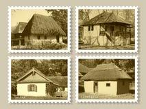 παλαιά γραμματόσημα σπιτιώ&nu Στοκ Εικόνα