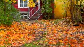 Παλαιά είσοδος σπιτιών στη χρυσή κλίση φθινοπώρου επάνω απόθεμα βίντεο