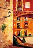 Παλαιά ελαιογραφία πόλεων παρόδων ηλιόλουστη στοκ εικόνες με δικαίωμα ελεύθερης χρήσης