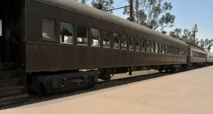 Παλαιά επιβατικά αυτοκίνητα στο μουσείο σιδηροδρόμου Perris στοκ φωτογραφίες