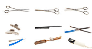 παλαιά εργαλεία κουρέων στοκ φωτογραφία
