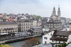 Παλαιά Ζυρίχη - η μεγαλύτερη πόλη στην Ελβετία Στοκ Εικόνα