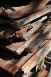 Παλαιά κεραμικά κεραμίδια στεγών που εγκαταλείπονται στο σωρό και που καλύπτονται με τη φόρμα Στοκ Εικόνα