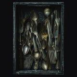 Παλαιά κουτάλια, δίκρανα και μαχαίρια, εκλεκτής ποιότητας ύφος Στοκ Φωτογραφία