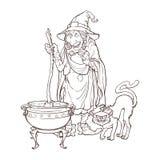 Παλαιά μάγισσα σε ένα καπέλο κώνων με τη μαύρη γάτα της που παρασκευάζει μια μαγική φίλτρο σε ένα καζάνι Χαρακτήρας ύφους κινούμε ελεύθερη απεικόνιση δικαιώματος